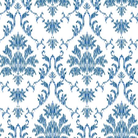 Ikat Ogee y Damasco adorno Patrón de fondo transparente en el estilo del tapiz. Fondo abstracto para diseño textil, papel tapiz, texturas superficiales Ilustración de vector