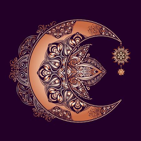 Boho schickes Tattoo Design. Goldener Halbmond und Sonne mit Elementen des Mandalas - Astrologie, Alchemie und magisches Symbol. Isolierte Vektorillustration.