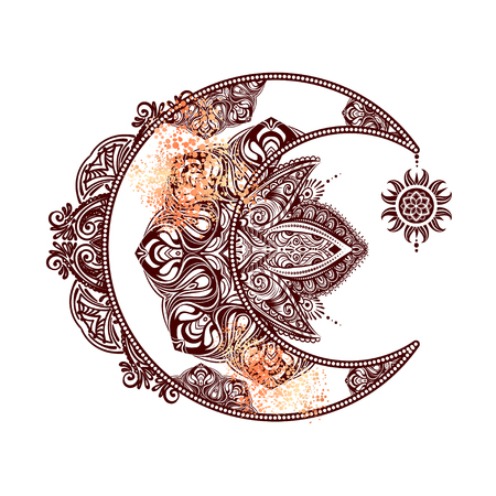 Boho chic tattoo design. Golden crescent moon and sun with elements of the mandala - astrology, alchemy and magic symbol. Isolated vector illustration. Stock Illustratie