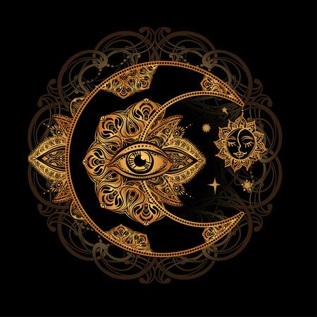 Disegno del tatuaggio boho chic. Luna e sole a mezzaluna dorati con elementi del mandala - astrologia, alchimia e simbolo magico. Illustrazione vettoriale isolato.
