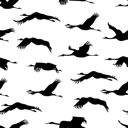 Seamless wallpaper with silhouette flying Japanese cranes on white background. Monochrome black and white tiled sketch of birds