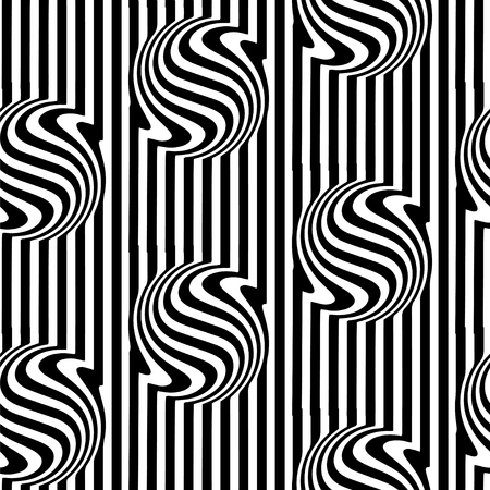 Abstract black and white striped spiral 3d vector seamless background. Convex volumetric ball of stripes and twisted rays.