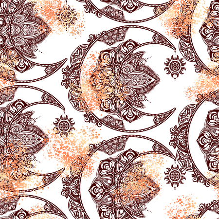 Seamless pattern Boho chic tattoo design. Golden crescent moon and sun with elements of the mandala - astrology, alchemy and magic symbol.