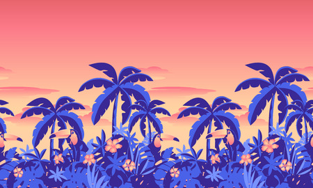 Tropical seamless canvas with toucan and palms. Blue mountains and rain forest against the background of an orange sunset. Bright and contrast jungle poster in retro style.