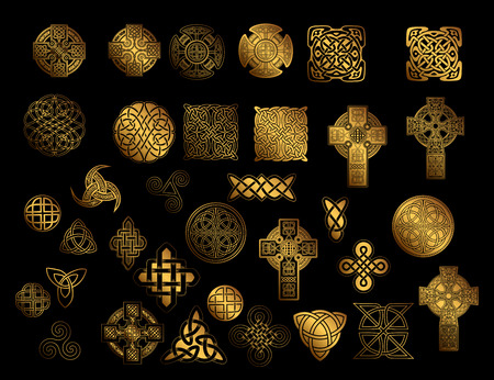 set of Ancient pagan Scandinavian sacred symbols and ornaments - Celtic cross, knot, a symbol of the Druids, Triskele, Odin's Horn