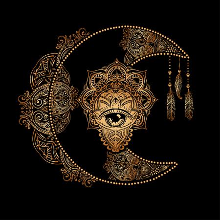 Boho chic tattoo-ontwerp. Gouden wassende maan en zon met elementen van de mandala - astrologie, alchemie en magisch symbool. Geïsoleerde vectorillustratie. Vector Illustratie