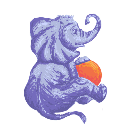 Cute little animated cartoon baby elephant with a ball, sitting back and sideways. Sketch drawing. Isolated vector image for children t-shirt and prints.