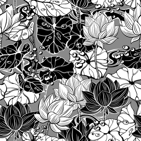 Floral monochromatic seamless pattern with ornate lotus flowers, leaves and bubbles for fabrics, textiles, paper Ilustrace