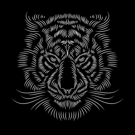 White embroidered tiger head on black background. Fashion print textile decoration design. Vector