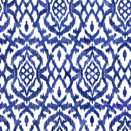 Watercolour Ikat Ogee background - Ethnic folk seamless pattern. Abstract background for textile design, wallpaper, surface textures. Boho Style Illustration