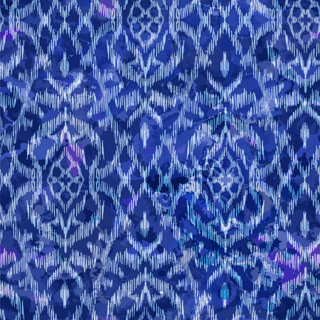 Watercolour Ikat Ogee background - Ethnic folk seamless pattern. Abstract background for textile design, wallpaper, surface textures. Boho Style Archivio Fotografico - 124907381