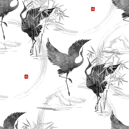 Seamless background - dancing cranes Tanajura with a hieroglyph Japanese hieroglyphs - Crane, Chrysanthemum. Stylized illustration made in Asian style and aesthetics sumie.