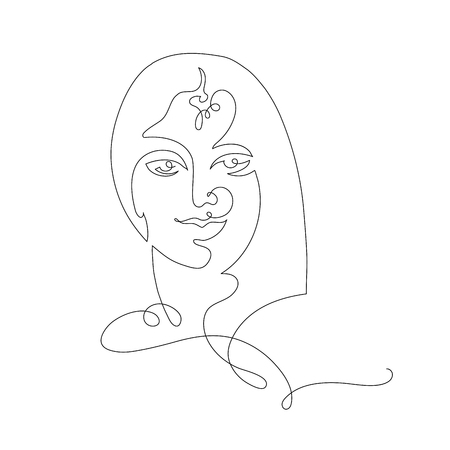 indian woman continuous line