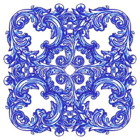 Modello blu dell'acquerello portoghese di Azulejos. Piastrelle barocche. Illustrazione vettoriale