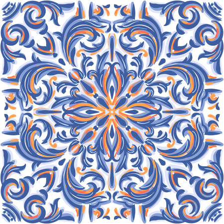 Azulejos Portuguese watercolor blue pattern. Baroque tiles. Vector illustration