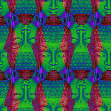 Head Smiling Buddha pattern Stock Photo