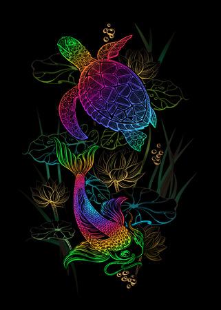 koi carp tatoo and sea turtle