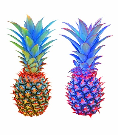 isolated unusual pineapples in multicolor tones