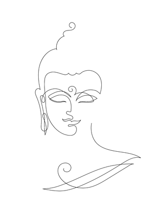 Head Smiling Buddha. Linart drawings.
