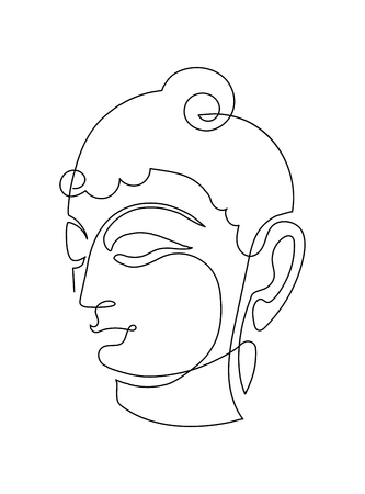 Head Smiling Buddha. Linart drawings made by one line