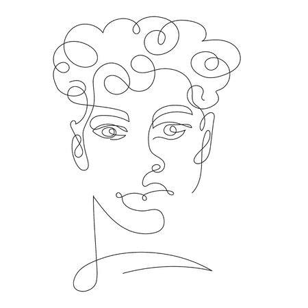 portrait of man one line drawing