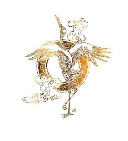 tattoo dancing crane  イラスト・ベクター素材