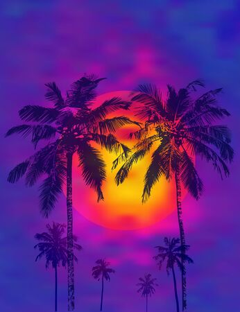 Dark realistic palms silhouettes against the background of a tropical sunset and full moon. Vector illustration