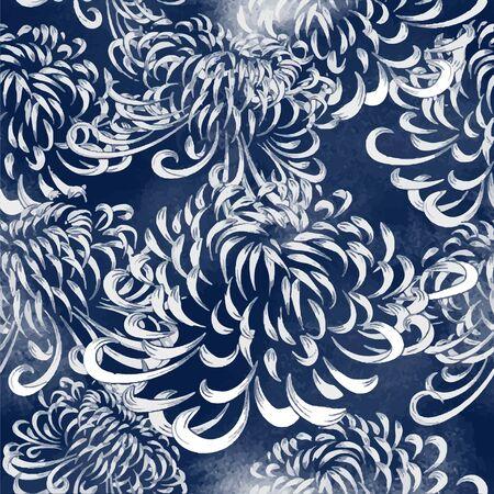 Motif japonais sans couture à l'aquarelle dans les tons bleus et blancs traditionnels. Chrysanthème. Fond d'écran et arrière-plans vectoriels ethniques.