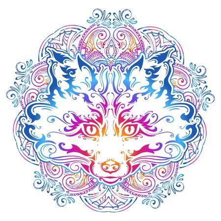 ornate muzzle fox 向量圖像