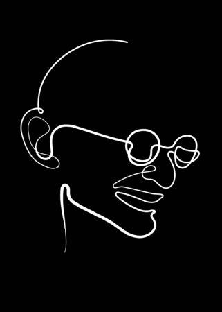 one line drawing of Mahatma Gandhi Ilustração