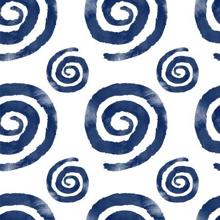 Indigo watercolor spiral