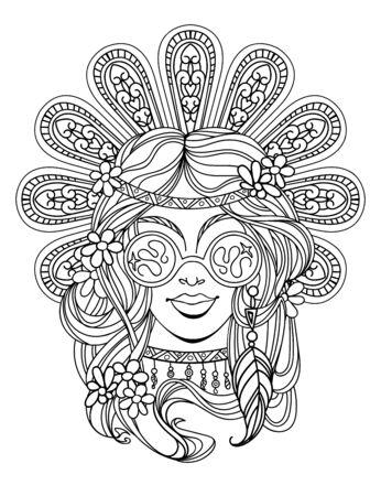 hippie girl poster Vectores
