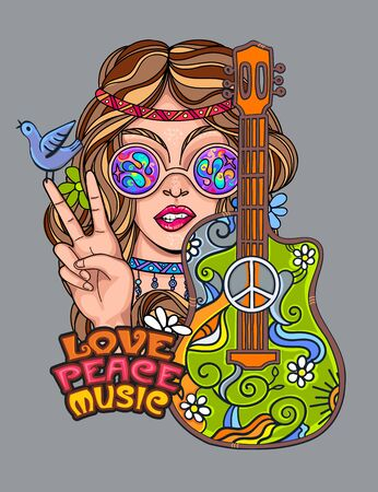 hippie girl poster