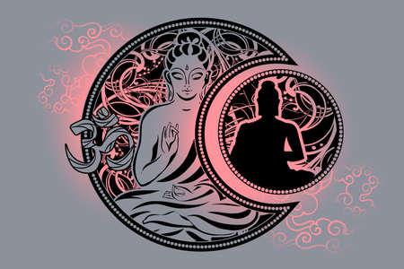 Buddha tattoo illustration background.