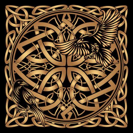 Odins Celtic Raven 矢量图像