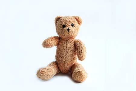 brown toy soft bear on white background childhood concept Banque d'images - 119846666