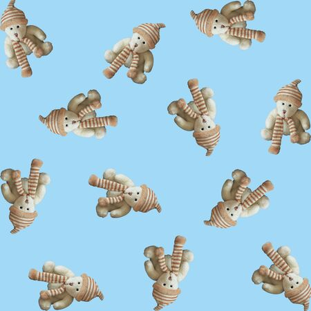 Seamless pattern, toy teddy bear on a blue background. Square.