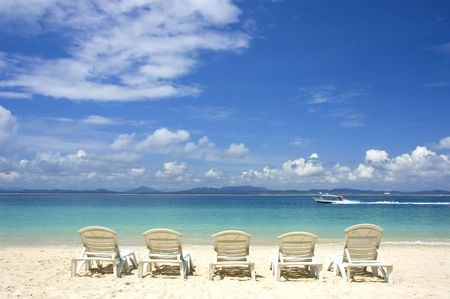 beach with chairs  photo