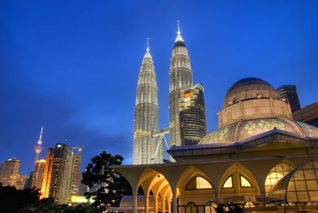 mosque with kuala lumpur background