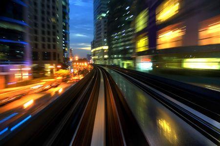 Urban night traffics view. Focus on the road. Stock Photo - 3416610
