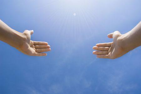 toward: hands toward sky concept photo