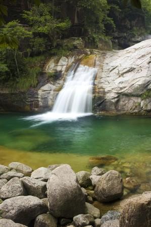 green waterfall photo