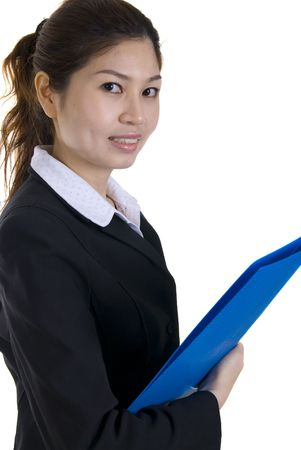 asian business women: asian business women holding a folder  Stock Photo