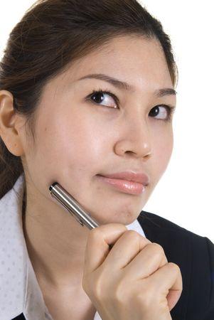 asian busines woman thinking Stock Photo - 4662980