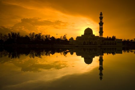 prayer tower: silhouette of a mosque