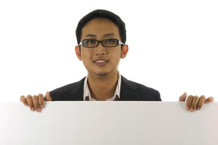 Blank paper for advertisement- Executive male showing OK hand sign  photo