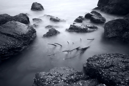 beach at dusk- long exposure  photo