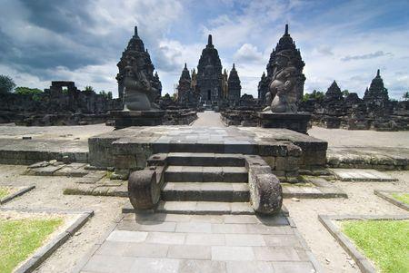 yogyakarta:  Hindu temple Prambanan. Indonesia, Java, Yogyakarta with dramatic sky