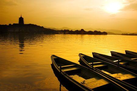 sunset in xihu,hangzhou ,china photo