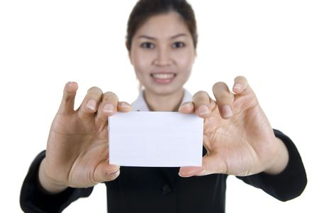 smartness: asian buisness women with blank name card